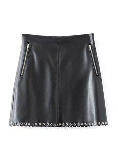 PU Scalloped A-Line Skirt - Black L