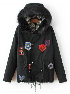 Patched Parka Jacket - Black S