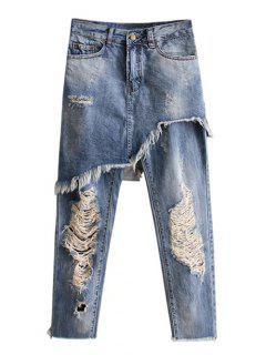 Asymmetric Ripped Jeans - Light Blue S