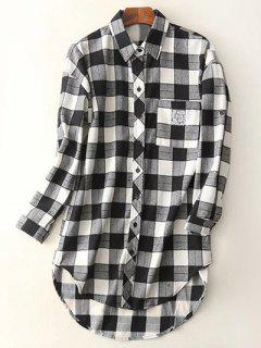 Letter Checked High-Low Shirt - Black M