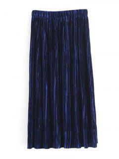 Jupe Midi Plissée à Taille élastique - Bleu Violet