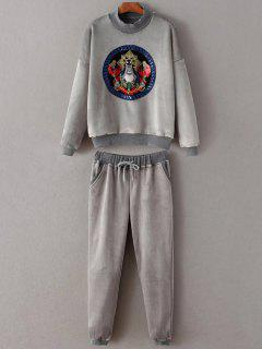 Embroidered Sweatshirt And Drawstring Gym Pants - Gray S