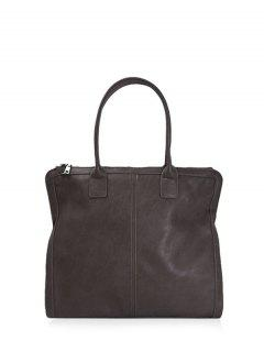 Retro PU Leather Handbag - Deep Brown