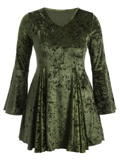 Bell Sleeve V Neck Fit And Flare Velvet Dress - Green Xl