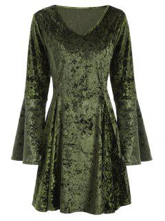 Bell Sleeve Fit And Flare Velvet Dress - Green Xl