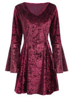 Bell Sleeve Fit And Flare Velvet Dress - Burgundy M
