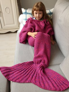 Sleeping Bag Knitted Mermaid Blanket - Rose Red
