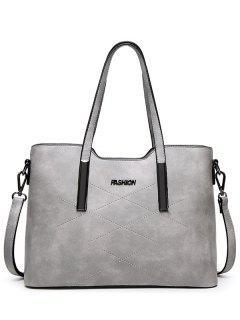 Stitching Metal Embellished Shoulder Bag - Light Gray