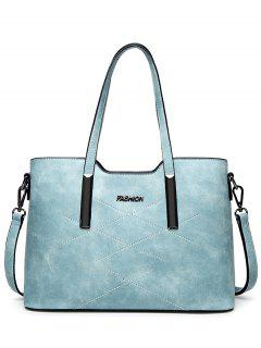 Stitching Metal Embellished Shoulder Bag - Light Blue