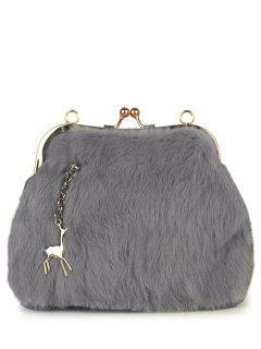 Kiss Lock Furry Evening Bag - Light Gray