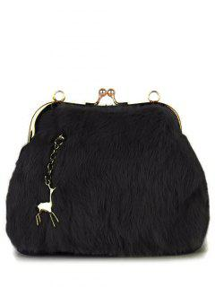 Kiss Lock Furry Evening Bag - Black