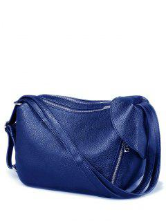 Convertible Textured PU Leather Shoulder Bag - Blue