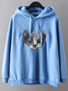 String Cartoon Embroidered Hoodie - Blue 3xl