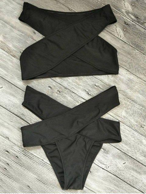 outfit Cut Out Bandage Bikini Set - BLACK S Mobile