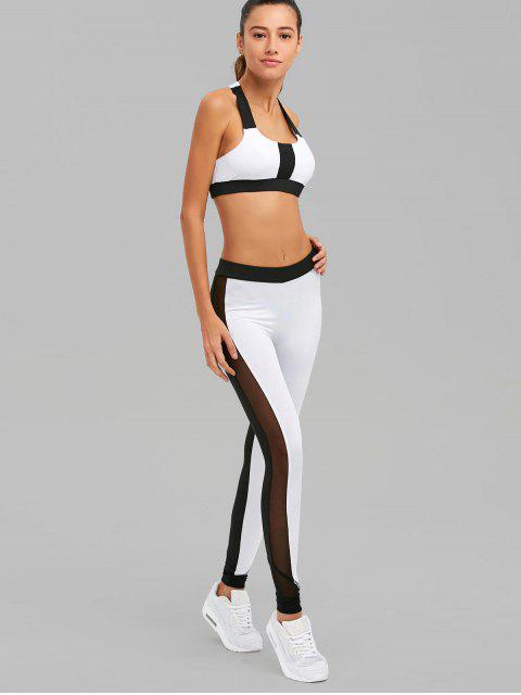 affordable Color Block Mesh Insert Sports Suit - WHITE AND BLACK S Mobile