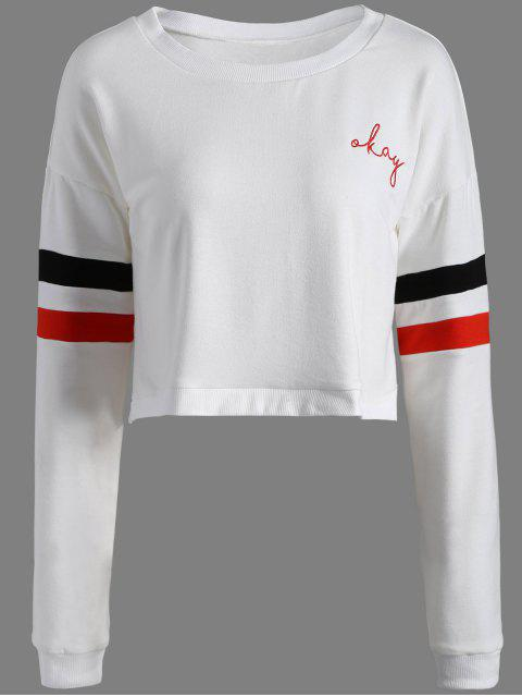 women's Color Block Cropped Sweatshirt - WHITE XL Mobile
