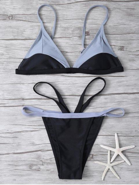 fancy High Cut Color Block Bathing Suit - BLACK L Mobile