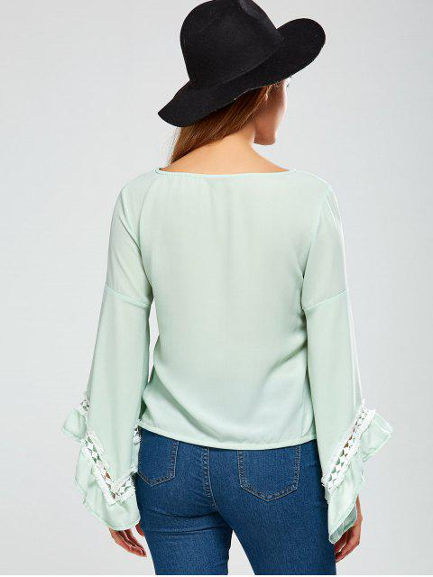 chic Flare Sleeve Chiffon Blouse - LIGHT GREEN 2XL Mobile