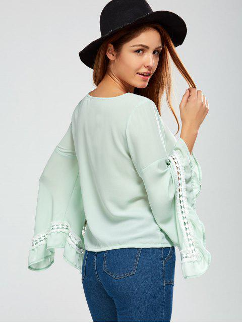 unique Flare Sleeve Chiffon Blouse - LIGHT GREEN L Mobile