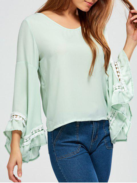 affordable Flare Sleeve Chiffon Blouse - LIGHT GREEN S Mobile
