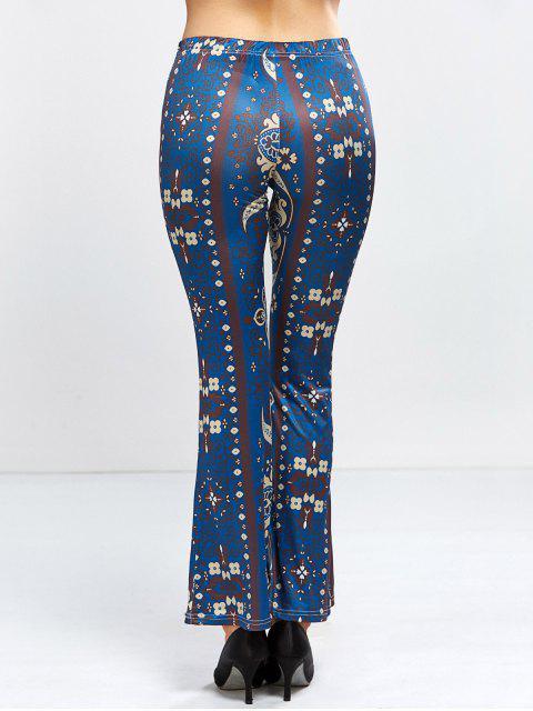 online Floral Bell Bottom Pants - PURPLISH BLUE L Mobile