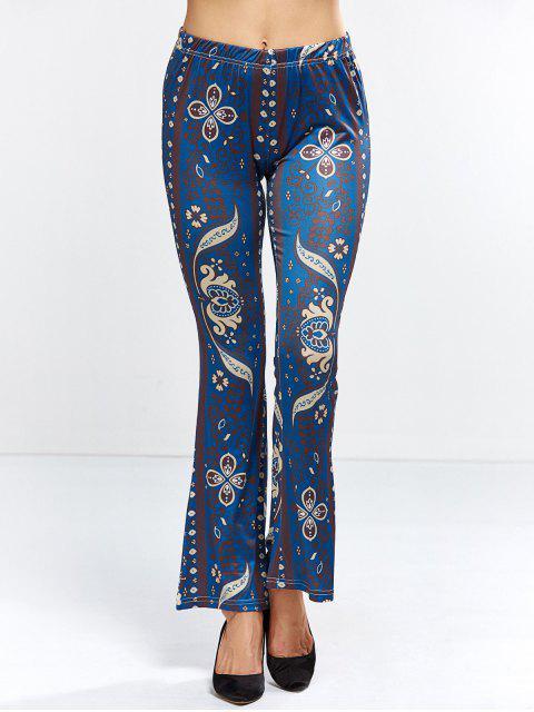 new Floral Bell Bottom Pants - PURPLISH BLUE M Mobile