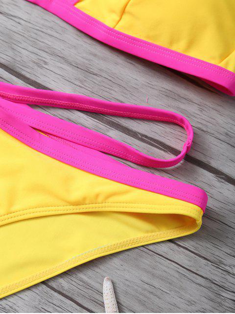 hot Color Block High Cut Bikini Set - YELLOW L Mobile