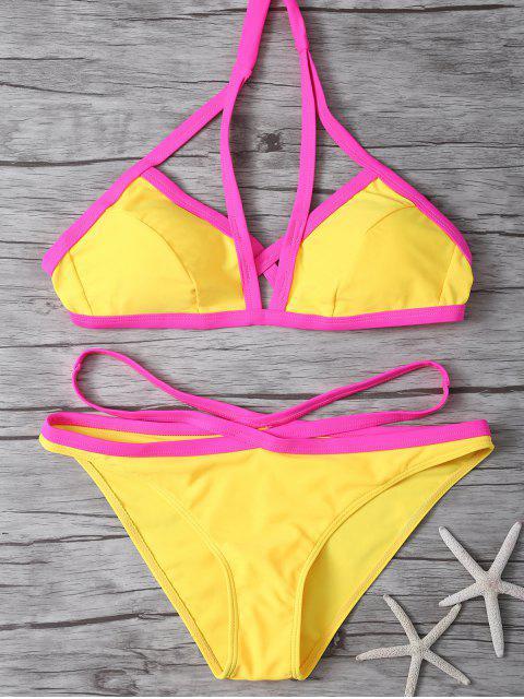 outfit Color Block High Cut Bikini Set - YELLOW M Mobile