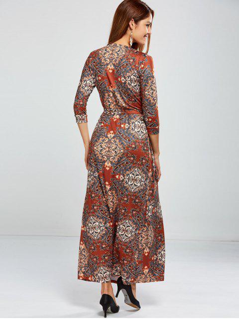 affordable Low Cut Print Maxi Wrap Dress - COLORMIX S Mobile