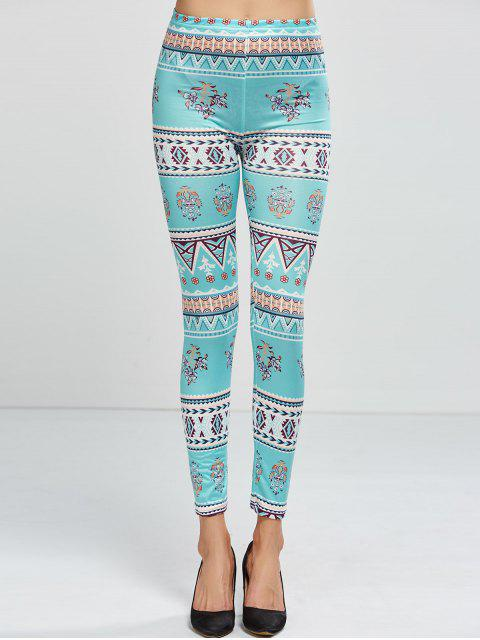 trendy Patterned Skinny Leggings - LIGHT GREEN ONE SIZE Mobile