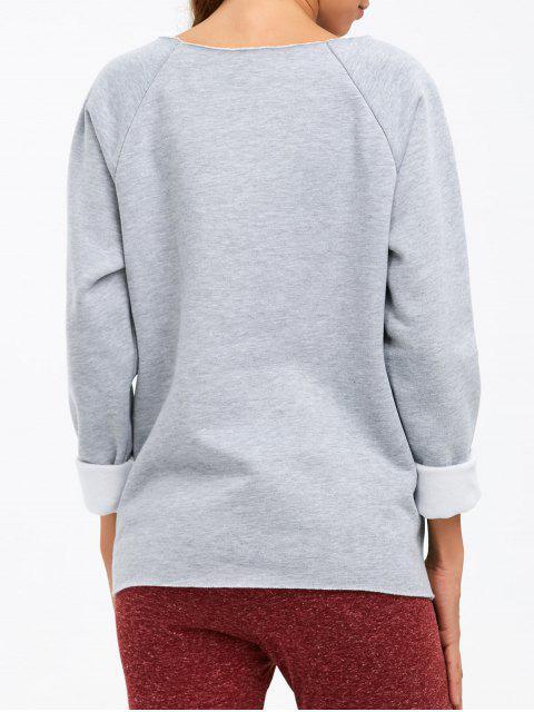 fashion I am Terrific Pullover Sweatshirt - GRAY 2XL Mobile