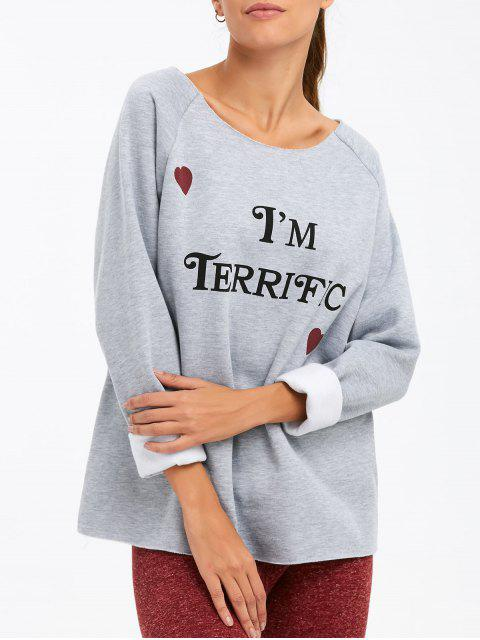 fashion I am Terrific Pullover Sweatshirt - GRAY 2XL Mobile