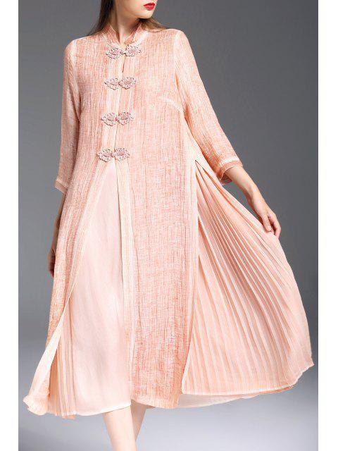 buy Mandarin Collar Dress with Pleated Camisole Dress - ORANGEPINK XL Mobile