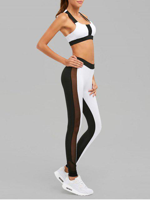 sale Color Block Mesh Insert Sports Suit - WHITE AND BLACK M Mobile