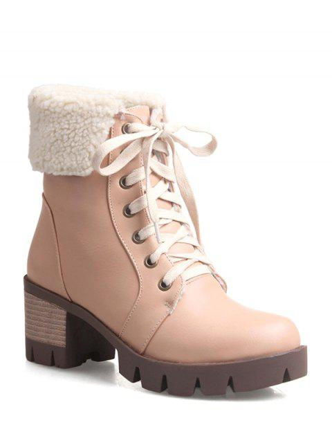 trendy Lace Up Platform Round Toe Ankle Boots -   Mobile