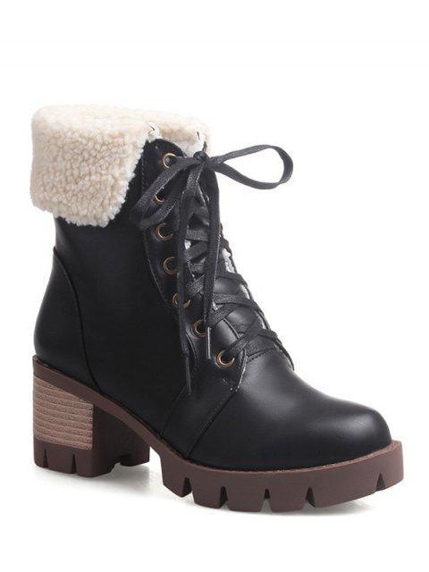fancy Lace Up Platform Round Toe Ankle Boots - BLACK 39 Mobile