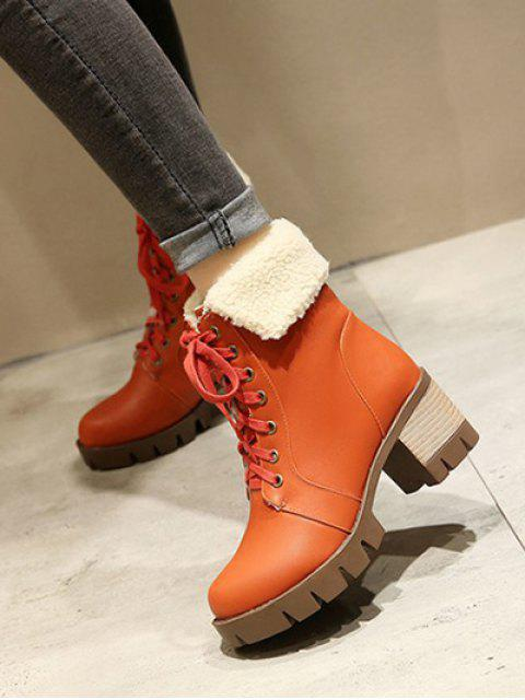 affordable Lace Up Platform Round Toe Ankle Boots -   Mobile