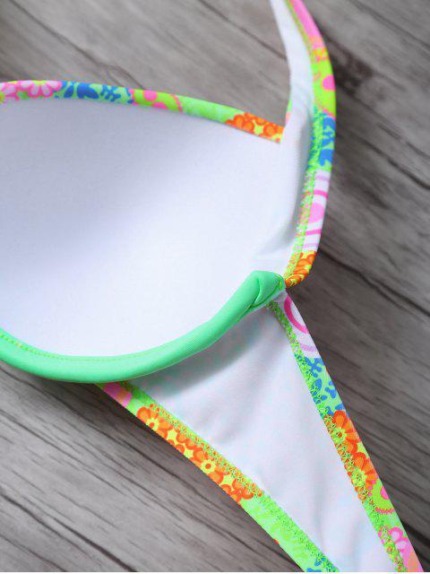 online Print Halter Underwire Bikini Set - GREEN M Mobile