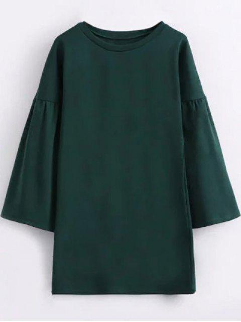 buy Round Collar Shift Dress - GREEN L Mobile