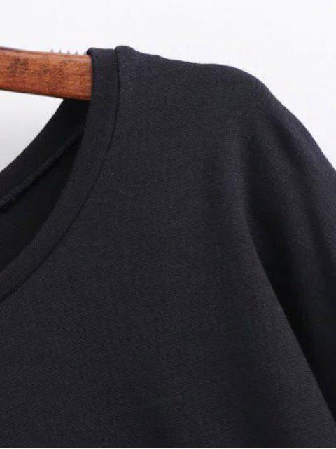 ladies Round Collar Shift Dress - BLACK M Mobile