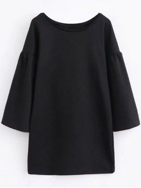 women's Round Collar Shift Dress - BLACK L Mobile