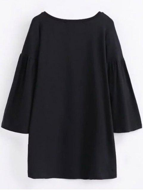women's Round Collar Shift Dress - BLACK L Mobile