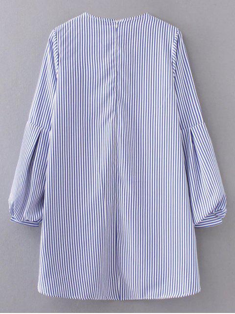 online Ruffles Lantern Sleeve Striped Dress - LIGHT BLUE S Mobile