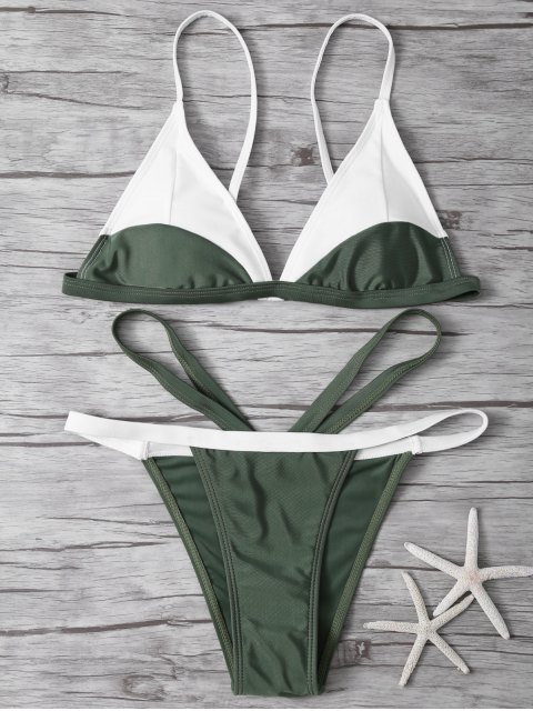 womens High Cut Color Block Bathing Suit - ARMY GREEN S Mobile