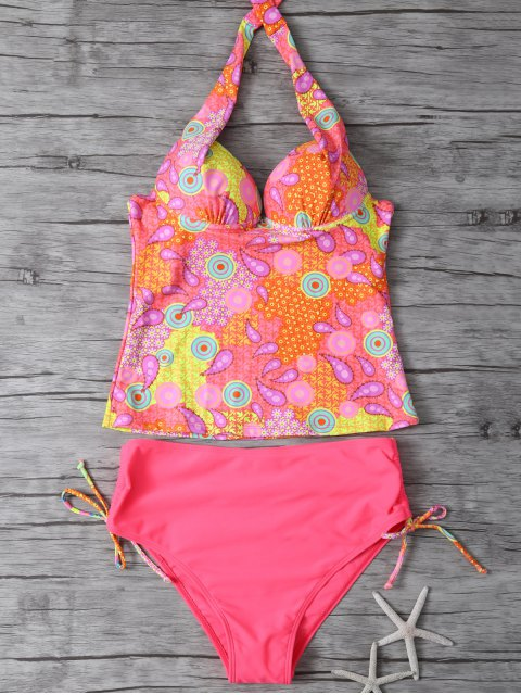 affordable Printed Halter Underwire Tankini Swimsuit - WATERMELON RED M Mobile