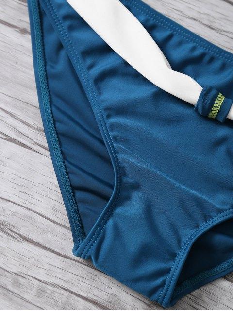 online Color Block Gathered Bikini Set - CADETBLUE S Mobile