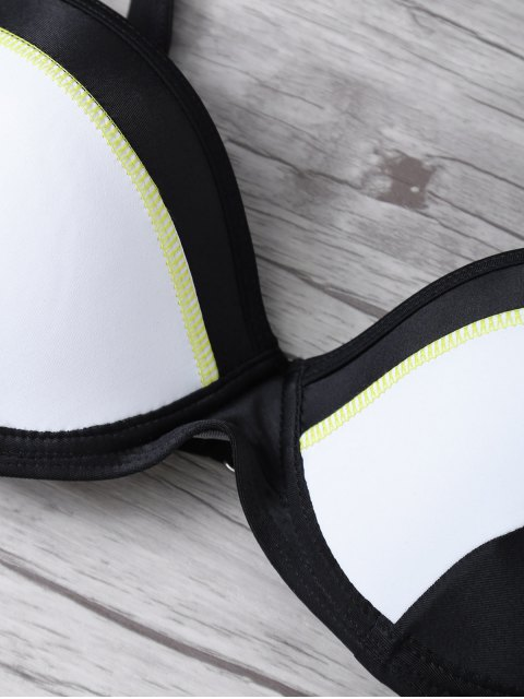 outfits Color Block Gathered Bikini Set - BLACK L Mobile