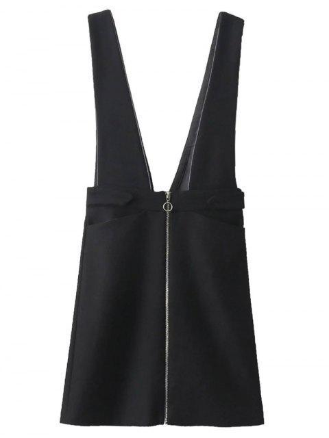 chic Zippered Suspender Skirt - BLACK S Mobile