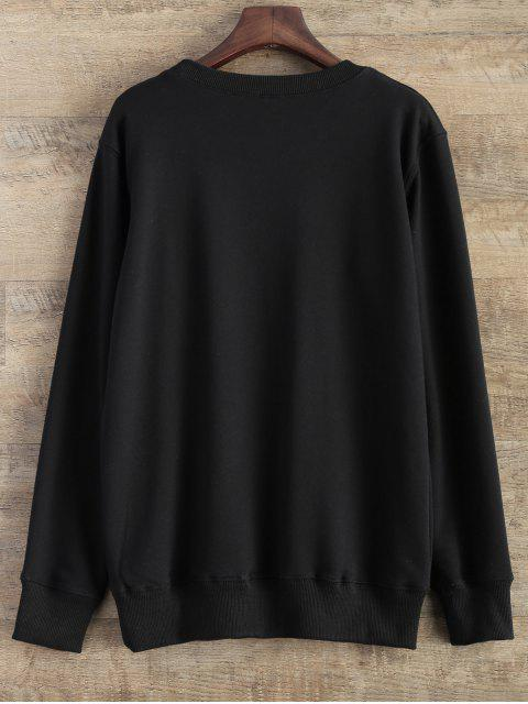 outfits Gesture Graphic Pullover Sweatshirt - BLACK S Mobile