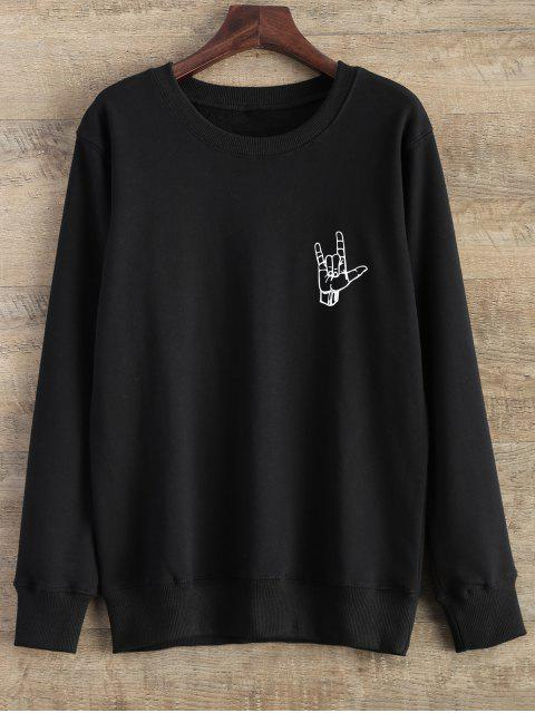 outfit Gesture Graphic Pullover Sweatshirt - BLACK M Mobile
